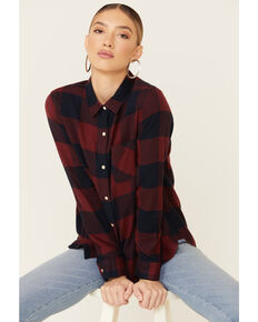 Flag & Anthem Women's Burgundy Edina Buffalo Plaid Long Sleeve Western Shirt , Burgundy, hi-res
