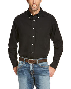 Ariat Men's Black Wrinkle Free Button Long Sleeve Western Shirt - Big , Black, hi-res
