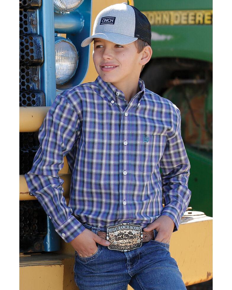 Cinch Boys' Purple Plaid Long Sleeve Western Shirt , Purple, hi-res