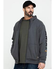 Ariat Men's Grey Rebar All-Weather Full Zip Work Hooded Sweatshirt - Big & Tall , Grey, hi-res
