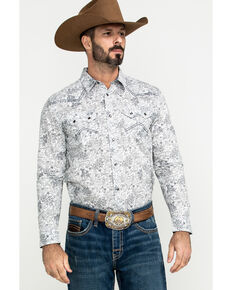 Cody James Men's Tumbleweed Floral Print Long Sleeve Western Shirt , White, hi-res