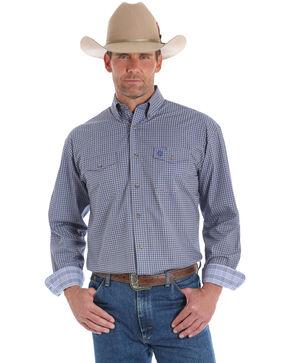 George Strait By Wrangler Men's Blue Geo Print Long Sleeve Western Shirt , No Color, hi-res