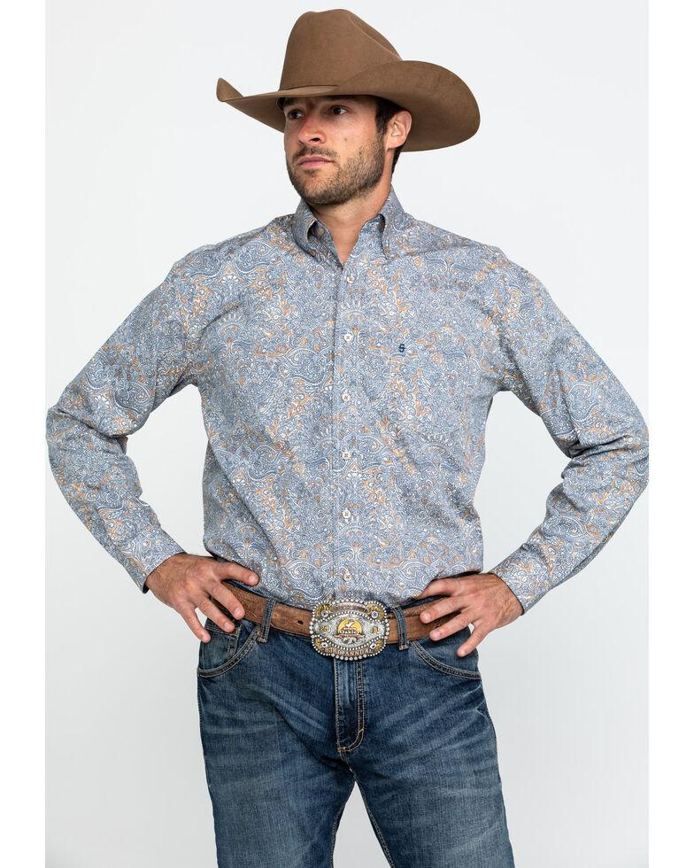 Roper Men's Mirror Paisley Print Long Sleeve Western Shirt , Brown, hi-res