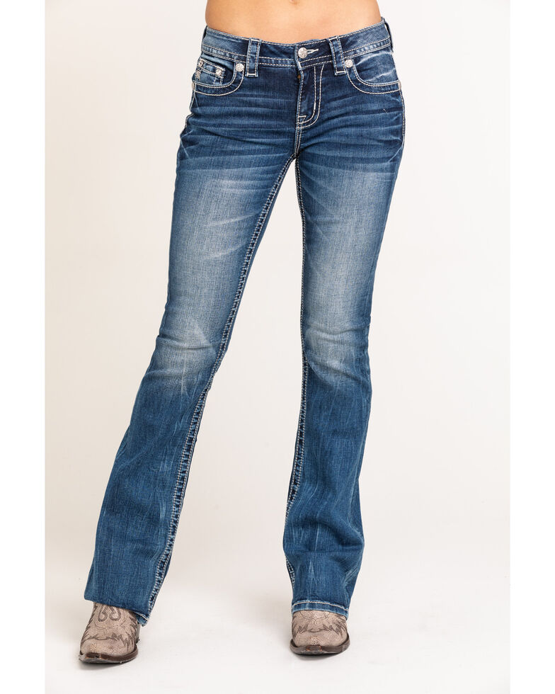 "Miss Me Women's Medium Tribal Wing 32"" Bootcut Jeans, Blue, hi-res"