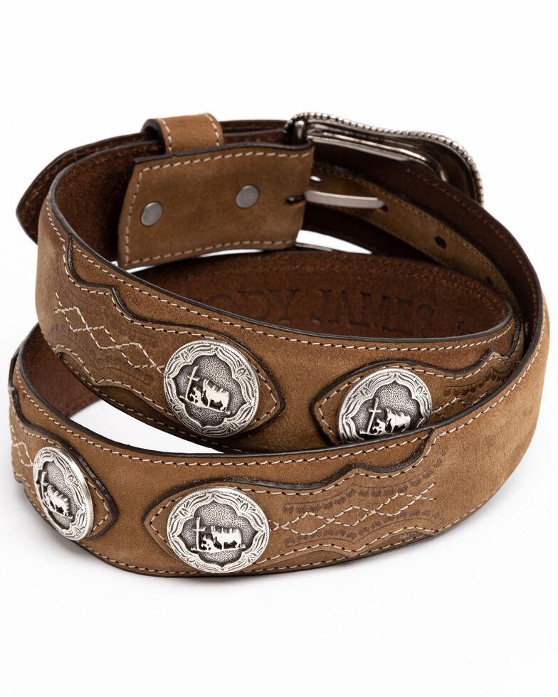 Cody James Men's Hair-On Praying Cowboy Concho Western Belt , Brown, hi-res