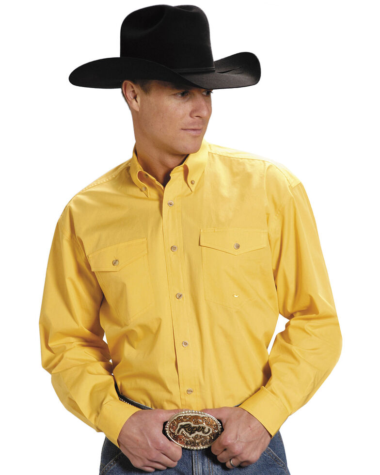 Roper Men's Solid Amarillo Collection Long Sleeve Western Shirt, Yellow, hi-res