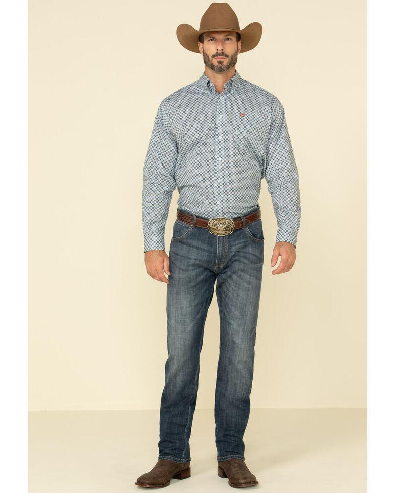 Cinch Men's Light Blue Stretch Floral Geo Print Long Sleeve Western Shirt , Light Blue, hi-res