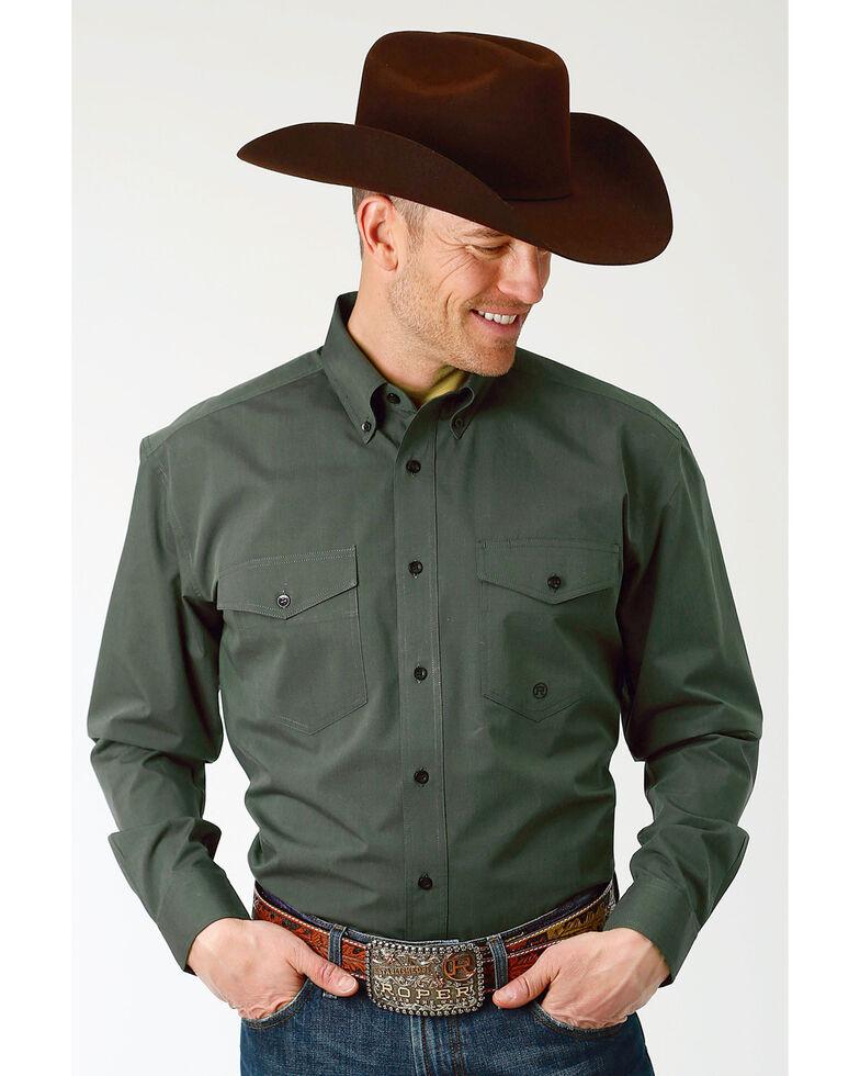 Roper Men's Solid Green Long Sleeve Button Down Shirt - Big & Tall, Green, hi-res