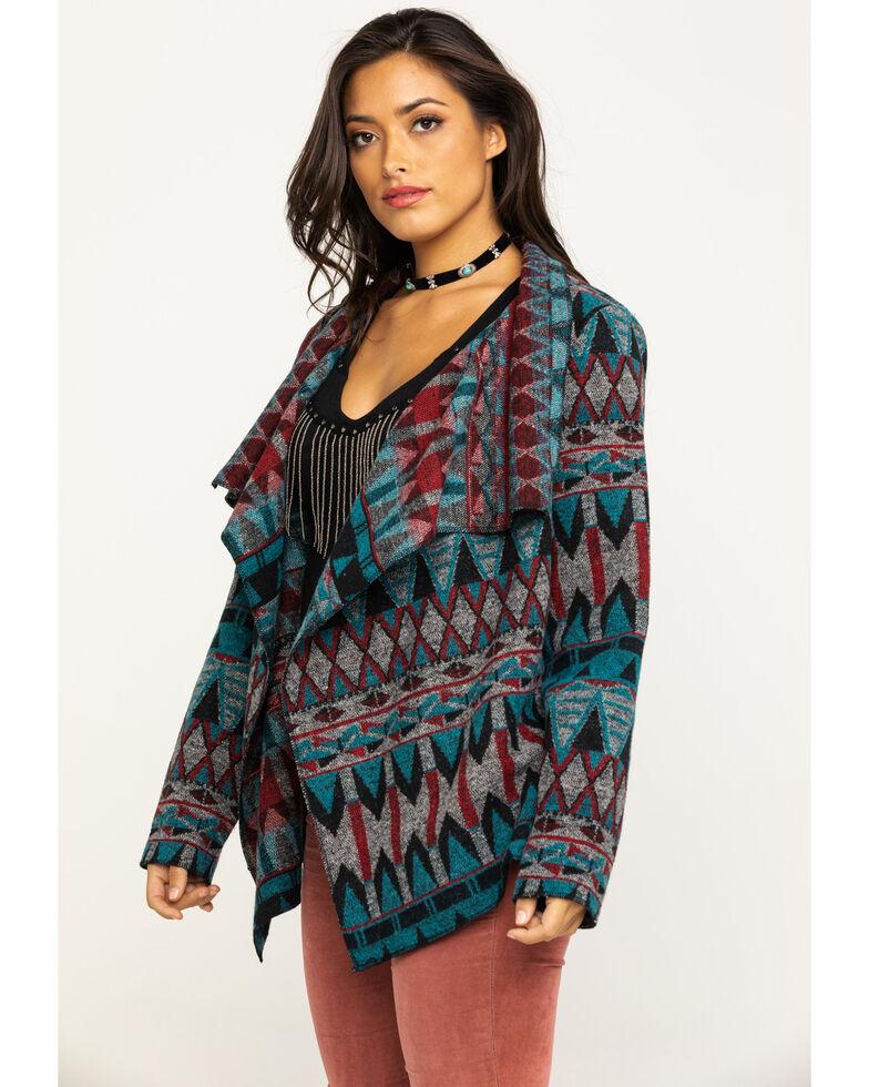 Cripple Creek Women's Navajo Open Front Blanket Wrap Cardigan, Turquoise, hi-res