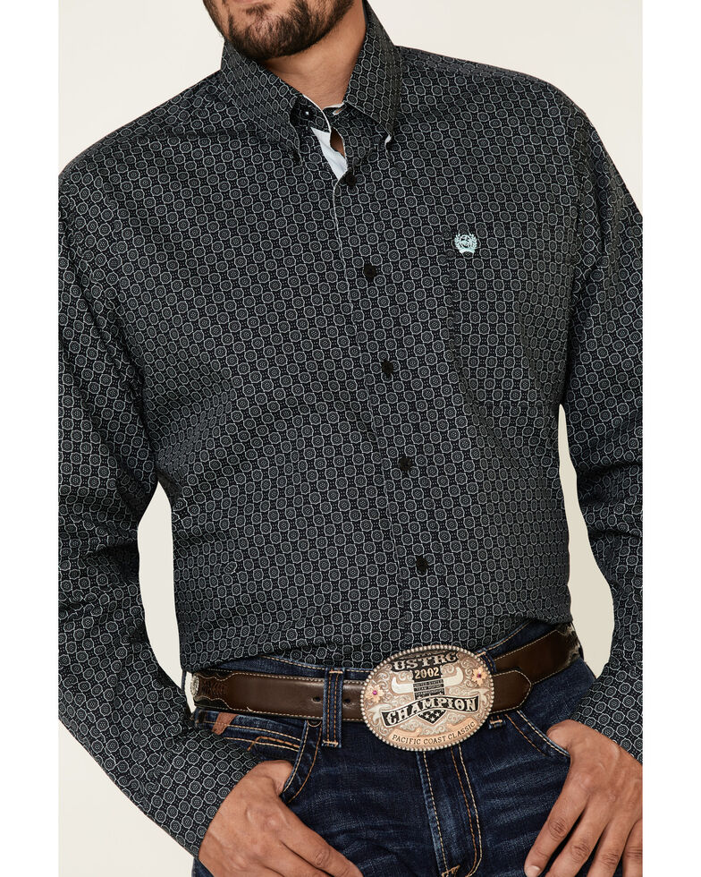 Cinch Men's Black Large Geo Print Long Sleeve Button-Down Western Shirt - Big, Black, hi-res