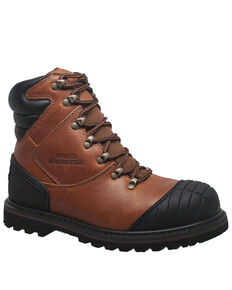 Ad Tec Men's Tumbled Leather Work Boots - Steel Toe, Brown, hi-res