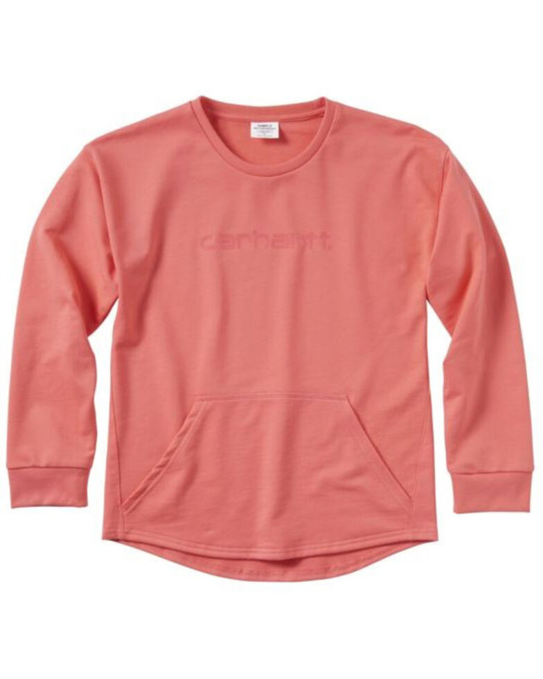 Carhartt Girls' Coral French Terry Pullover Sweatshirt , Coral, hi-res