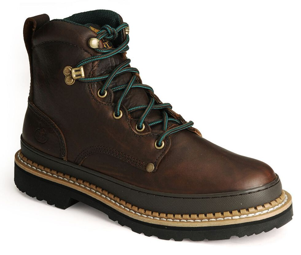 "Georgia Men's Giant 6"" Lace-Up Work Boots - Steel Toe, Brown, hi-res"