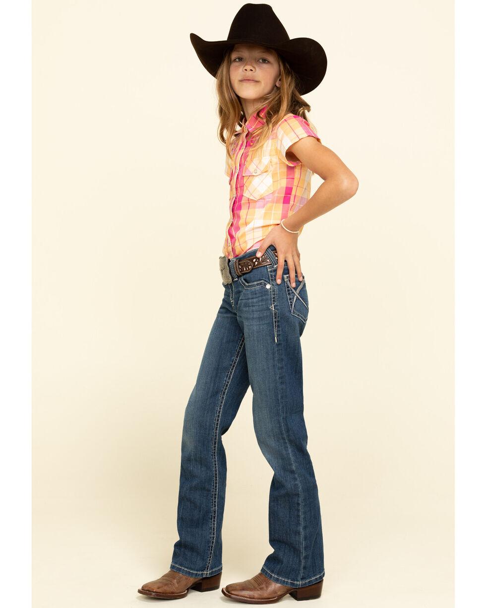Medium green plaid womens short sleeve western shirt