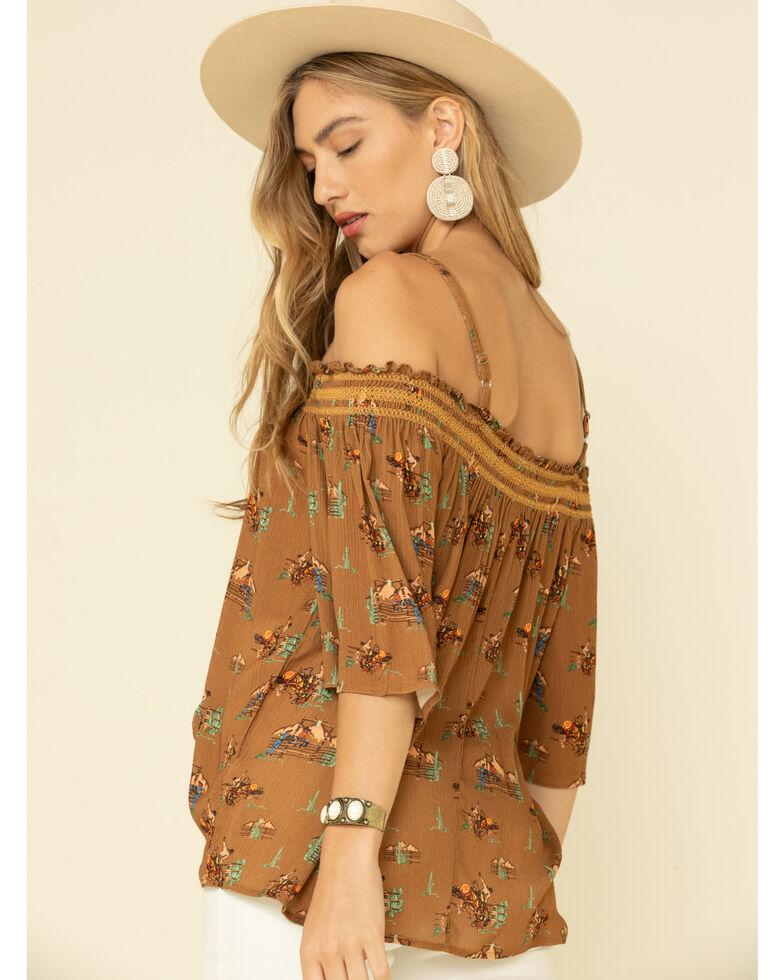 Ariat Women's Keep It Ranchy Off The Shoulder Top, Brown, hi-res
