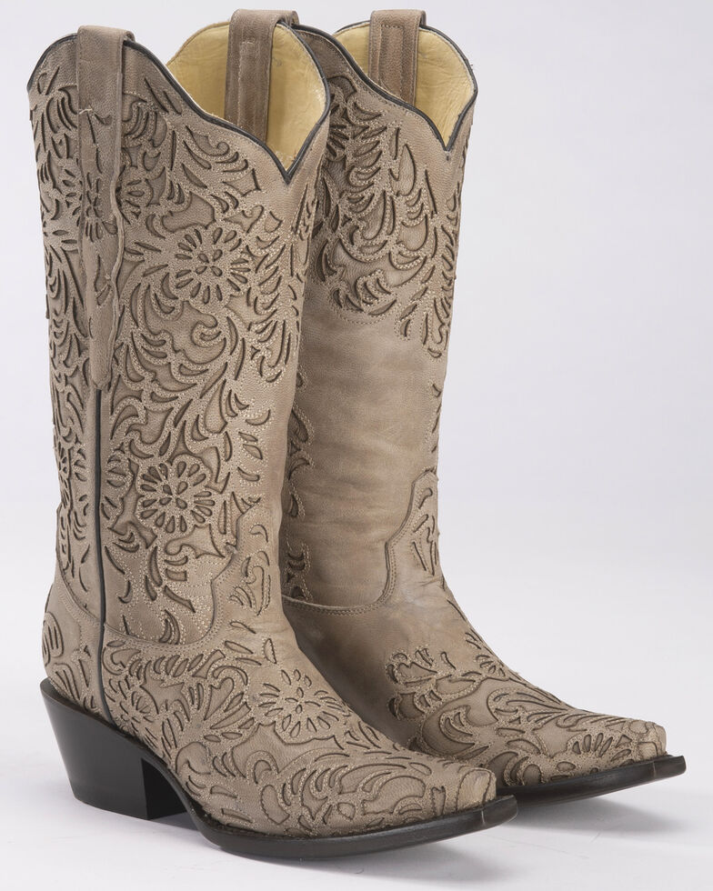 Corral Women's Bone Cutout Cowgirl Boots - Snip Toe, Beige/khaki, hi-res