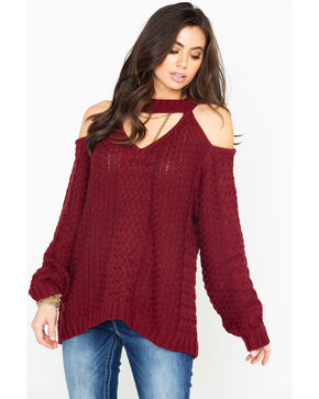 Elan Women's Cold Shoulder Keyhole Cable Knit Sweater, Burgundy, hi-res