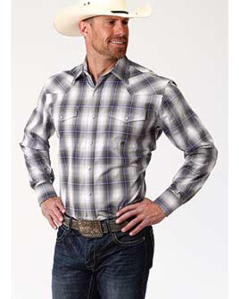 Roper Men's Amarillo Dusk Grey Shadow Plaid Long Sleeve Western Shirt , Grey, hi-res