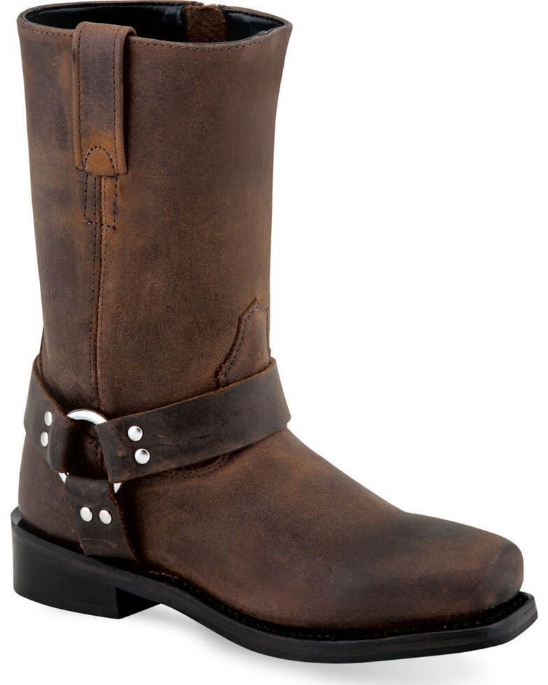 Old West Boy's Brown Harness Leather Boots - Square Toe , Brown, hi-res
