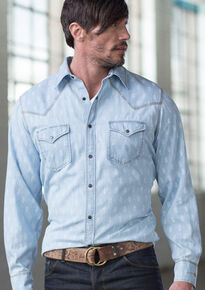 433feecec5a Ryan Michael Men s Chambray Indigo Print Shirt