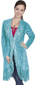 Scully Boar Suede Fringed Maxi Coat, Turquoise, hi-res