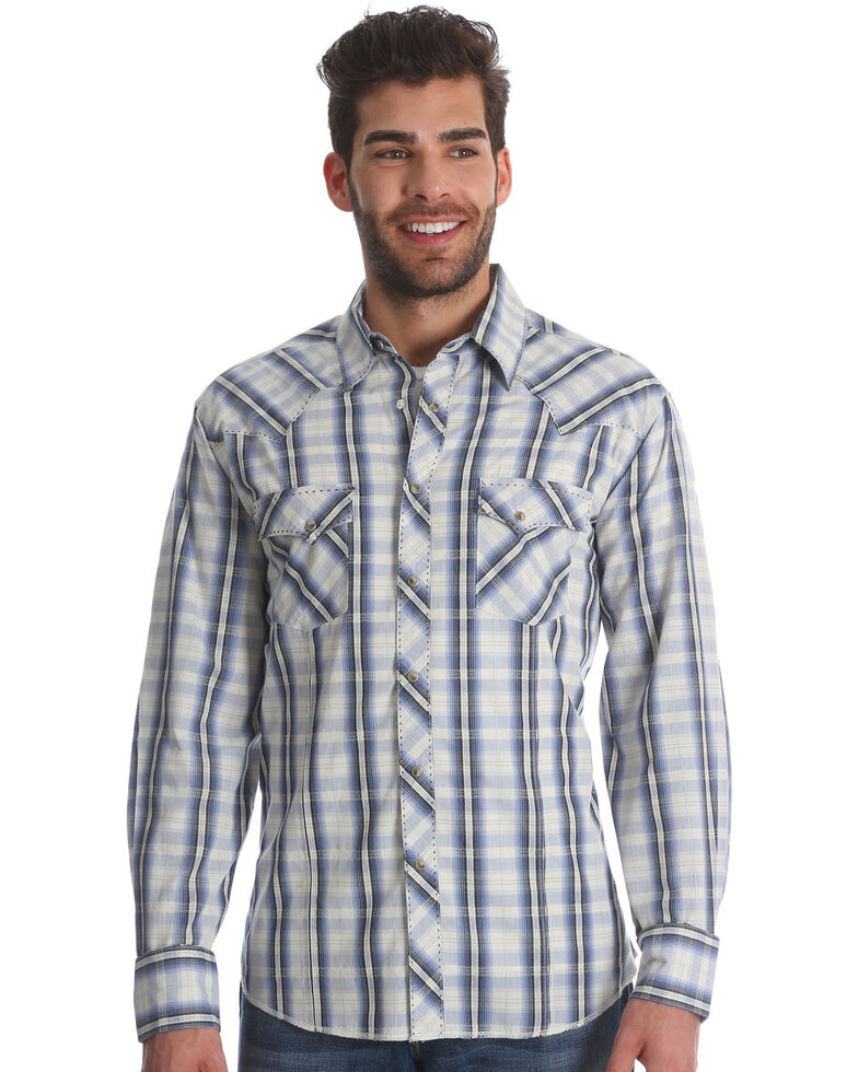 Wrangler Men's Blue/White Plaid Fashion Long Sleeve Snap Shirt, Blue, hi-res