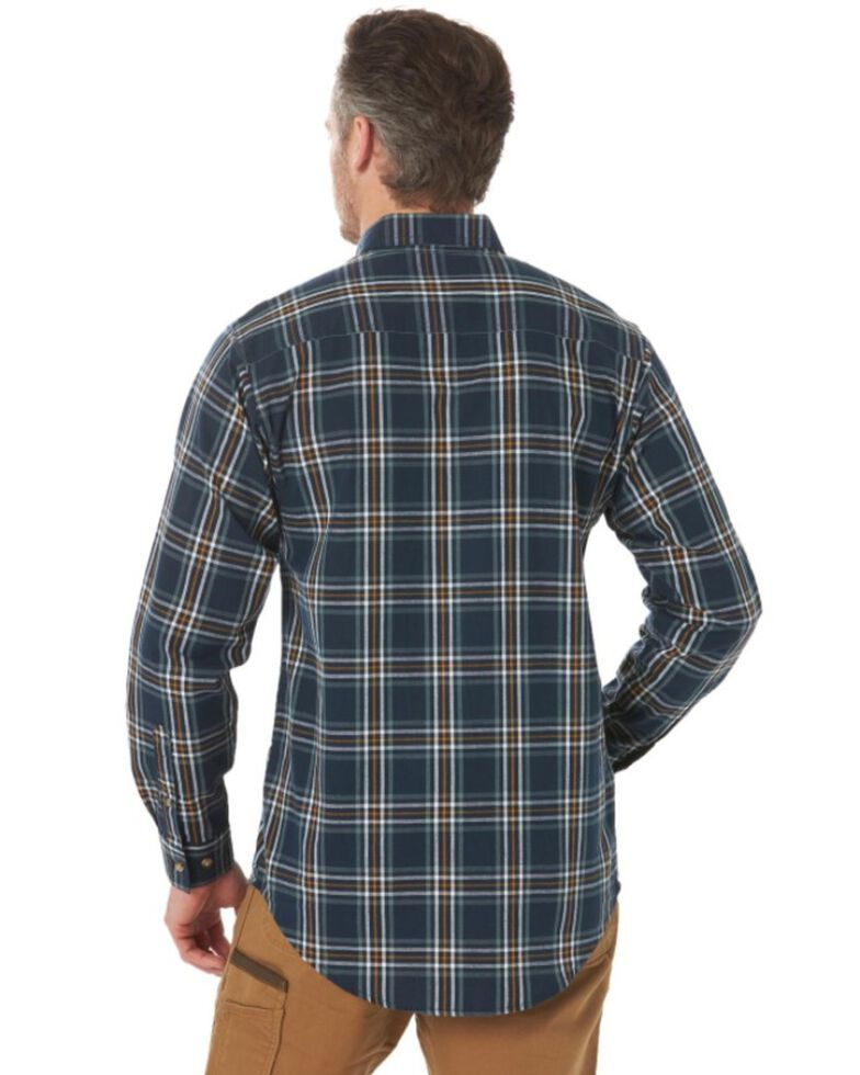 Wrangler Riggs Men's Navy Foreman Plaid Long Sleeve Button-Down Work Shirt - Tall, Navy, hi-res