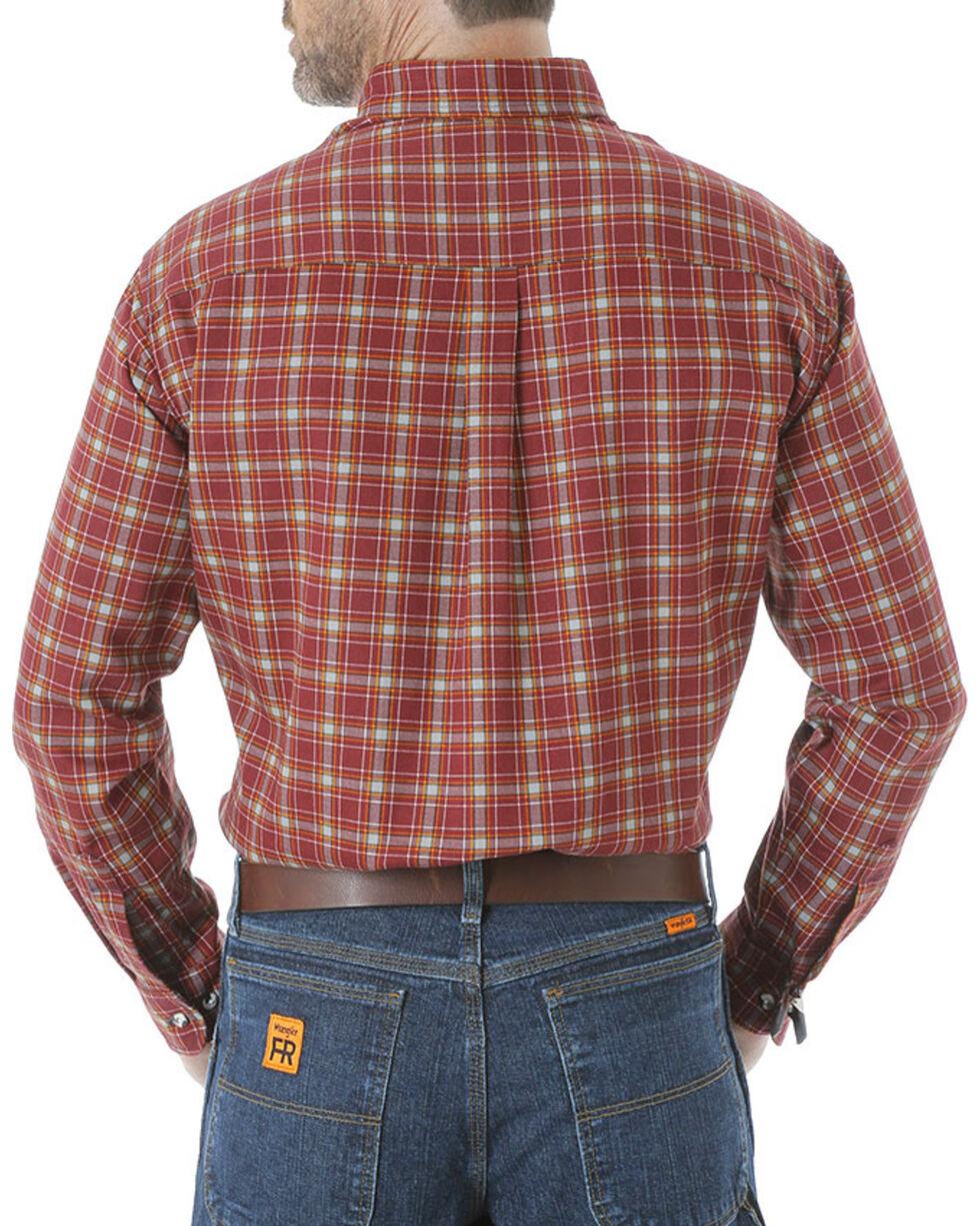 Wrangler Men's Flame Resistant Long Sleeve Plaid Work Shirt - Tall, Burgundy, hi-res