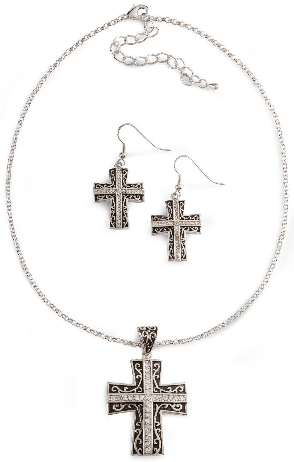 Montana Silversmiths Rhinestone Cross Necklace Set, Silver, hi-res