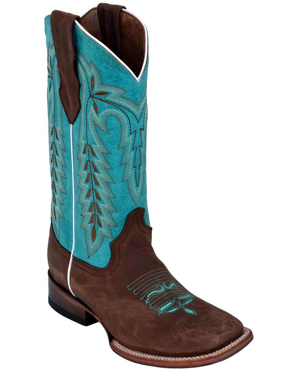 Ferrini Women's Chocoloate Turquoise Western Boots - Square Toe, Chocolate, hi-res