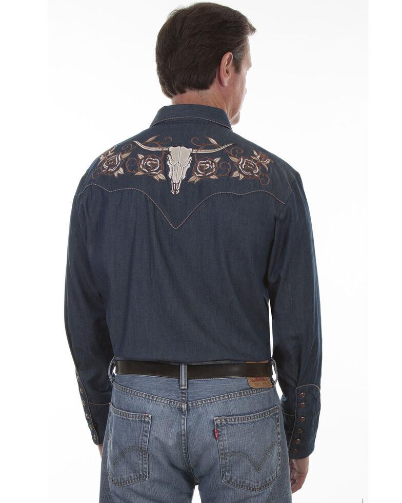 Scully Men's Roses and Longhorn Skull Embroidered Western Denim Shirt, Indigo, hi-res