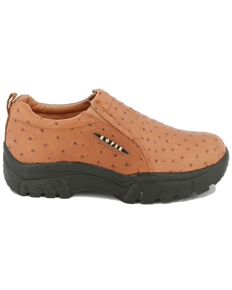 Roper Ostrich Print Leather Slip-On Shoes, Buttercup, hi-res