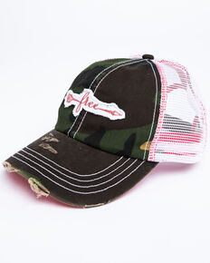 Shyanne Women's Free Arrow Embroidered Camo Print Mesh Cap , Camouflage, hi-res
