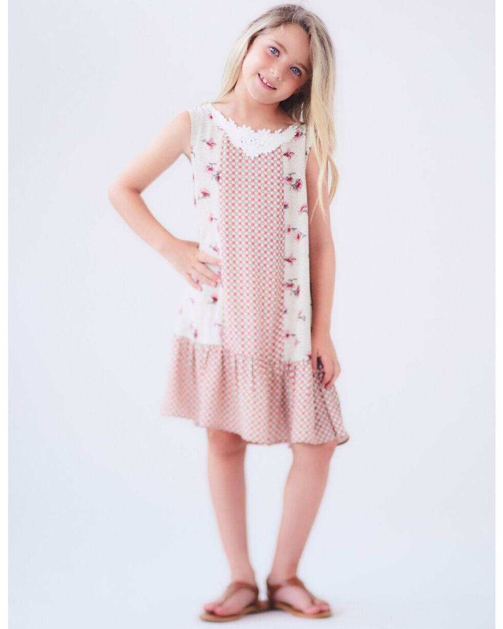 Idol Mind Girls' Mixed Print Cross Back Dress, Ivory, hi-res