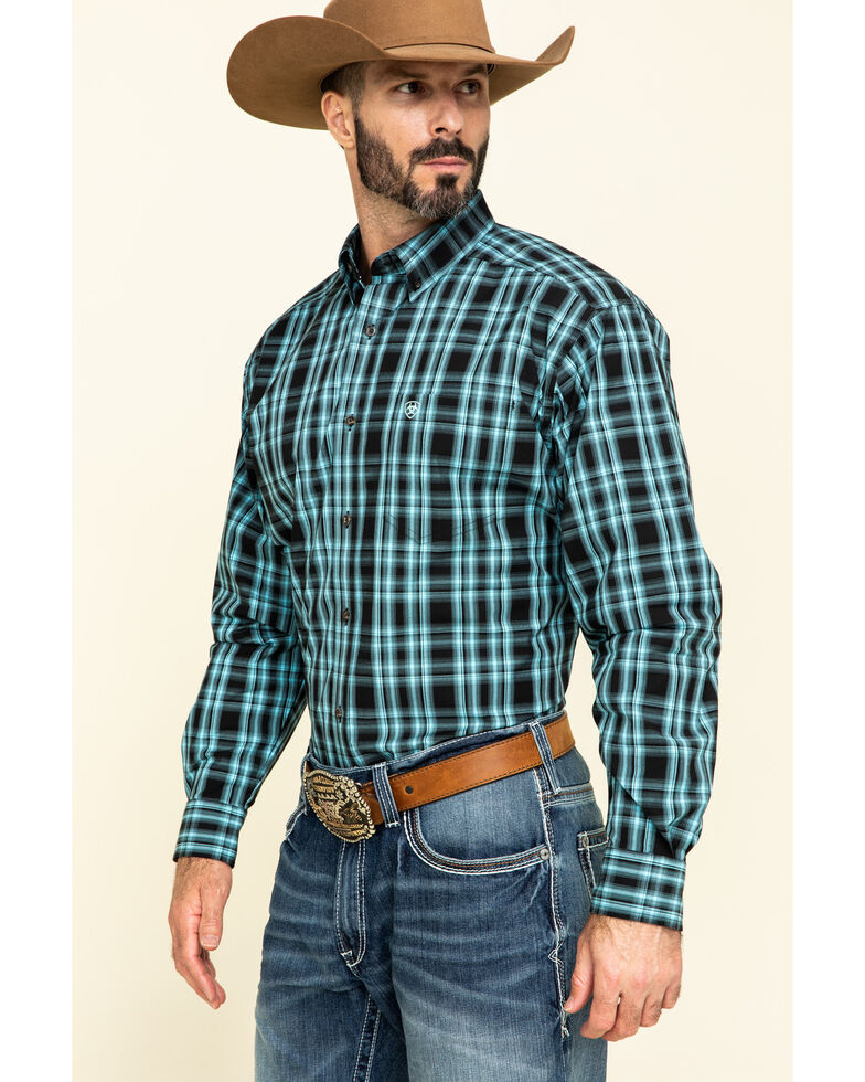 Ariat Men's Iberville Small Plaid Long Sleeve Western Shirt - Big, Black, hi-res