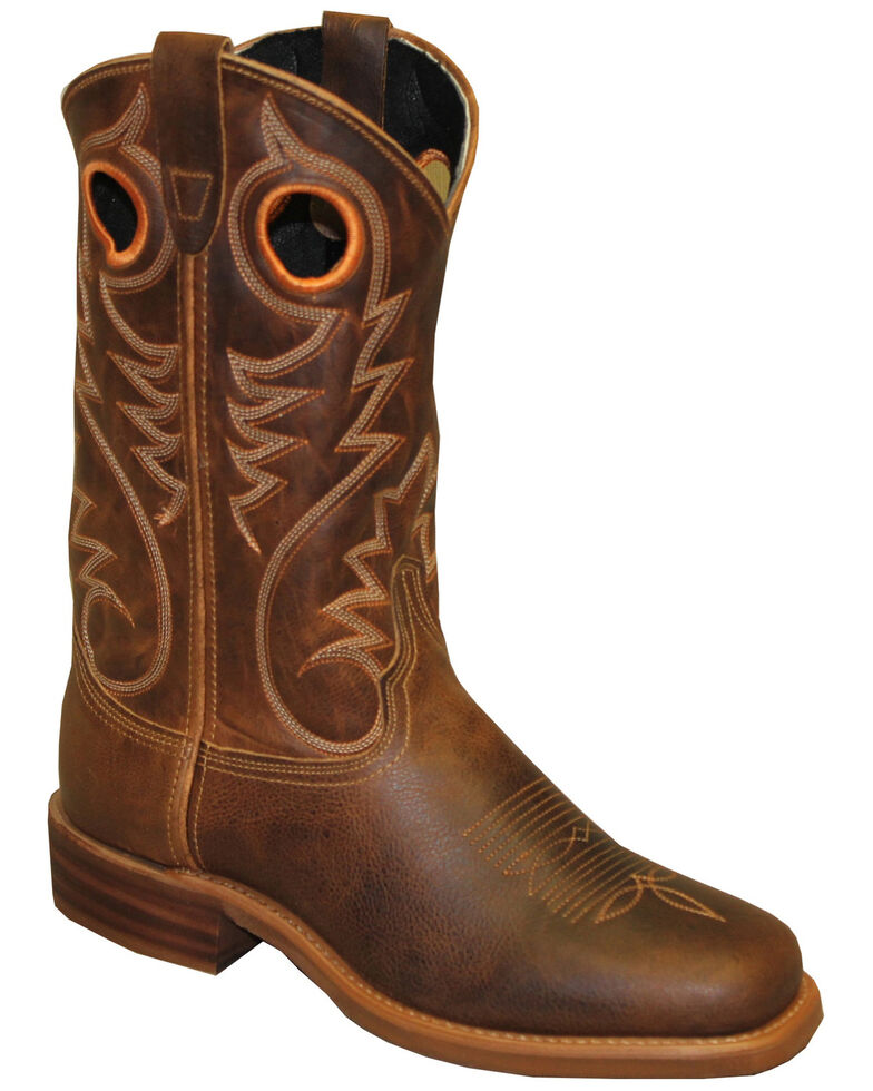 Abilene Men's Distressed Western Boots - Round Toe, Brown, hi-res