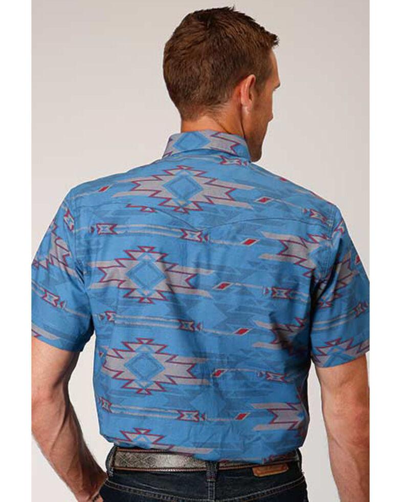 West Made Men's Sandstorm Aztec Print Short Sleeve Western Shirt , Blue, hi-res