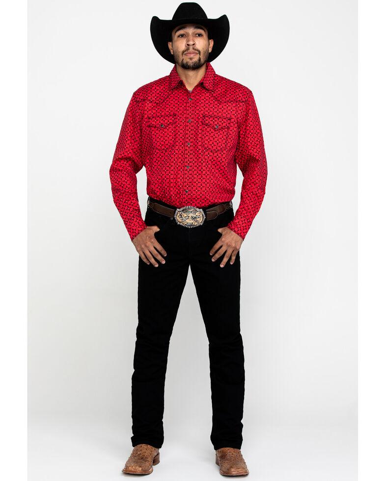 Wrangler 20X Men's Advanced Comfort Red Paisley Print Long Sleeve Western Shirt , Red, hi-res
