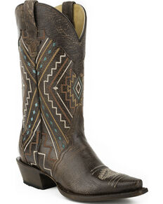 Roper Brown Neon Aztec Sanded Cowgirl Boots - Snip Toe, Brown, hi-res