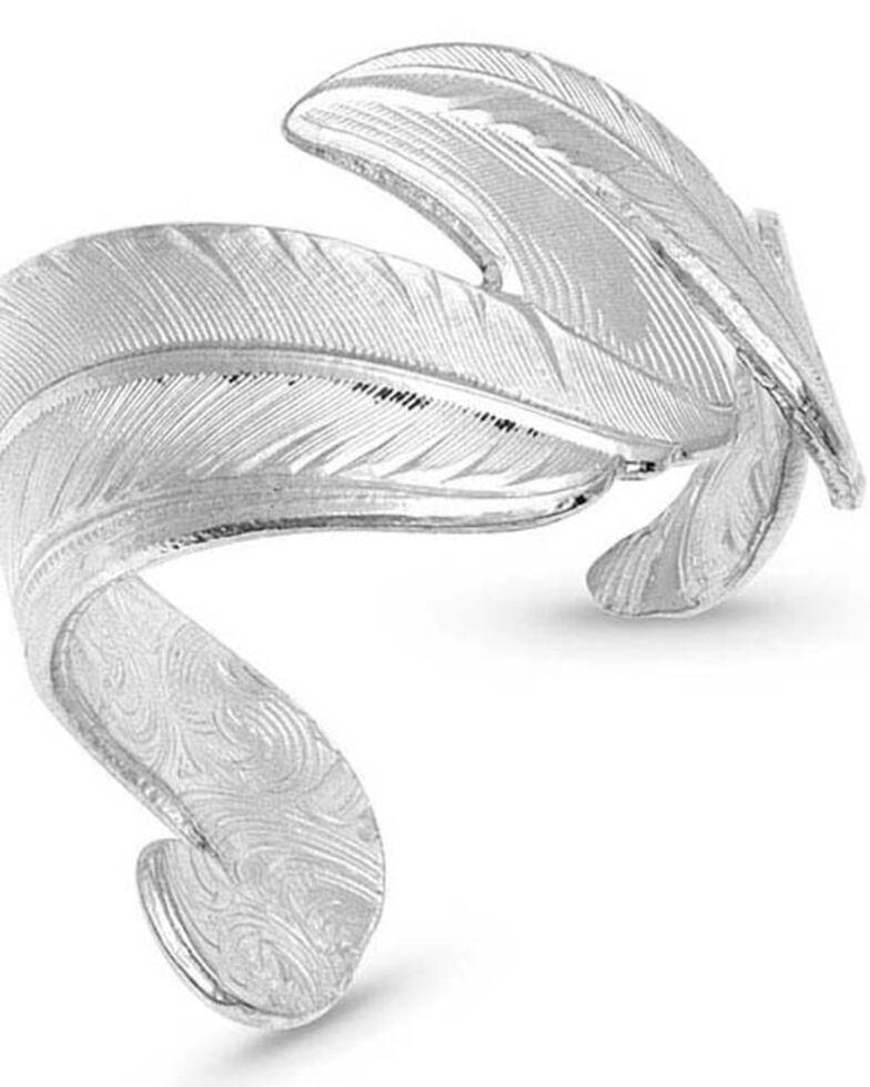 Montana Silversmiths Women's Free Spirit Adjustable Feather Ring, Silver, hi-res