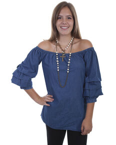 Scully Women's Cabbage Sleeve Off Shoulder Top , Blue, hi-res