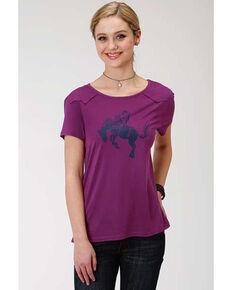Five Star Women's Bucking Bronco Graphic Tee, Purple, hi-res