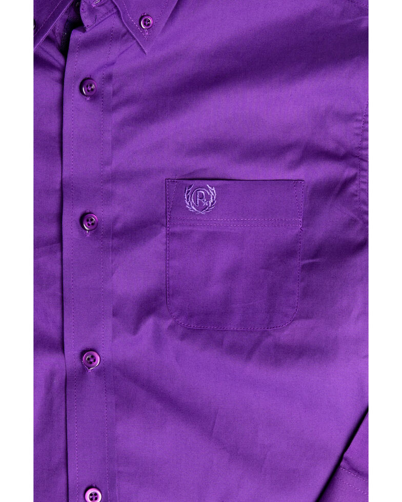 Panhandle Select Boys' Purple Solid Stretch Long Sleeve Western Shirt , Purple, hi-res