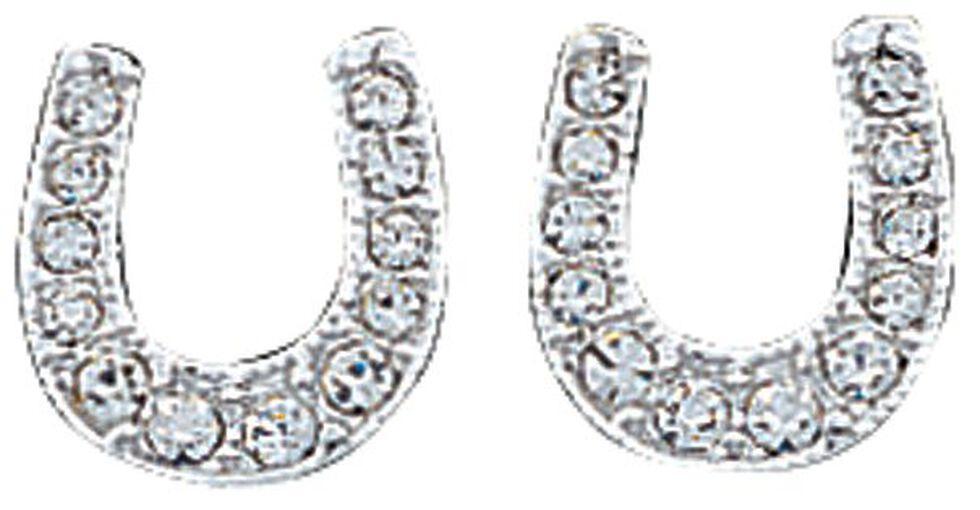 Montana Silvermsiths Rhinestone Encrusted Horseshoe Earrings, Silver, hi-res