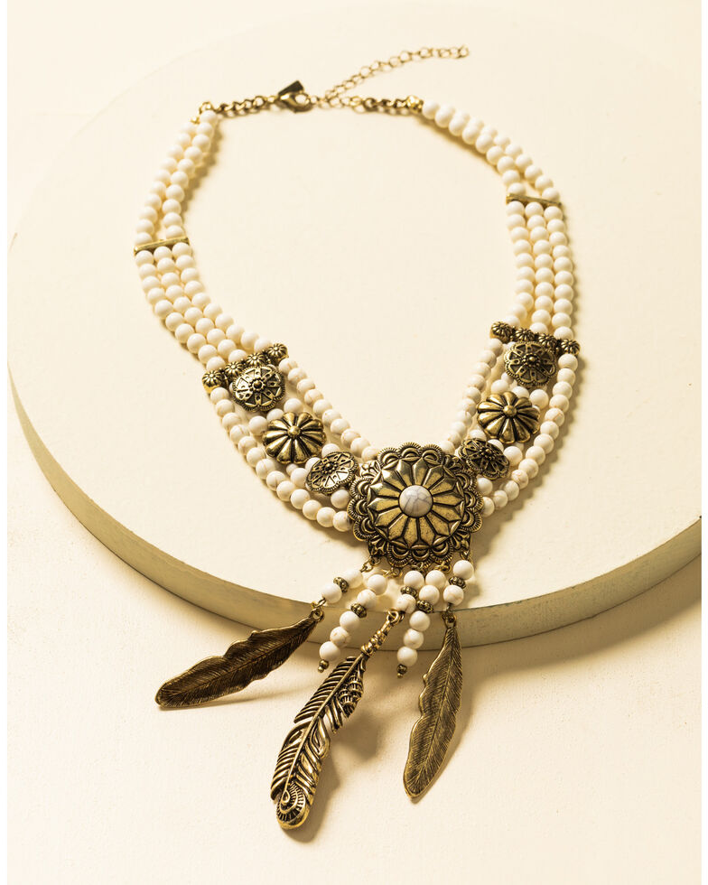 Shyanne Women's Crescent Sunset Beaded Concho Feather Bib Necklace , Bronze, hi-res