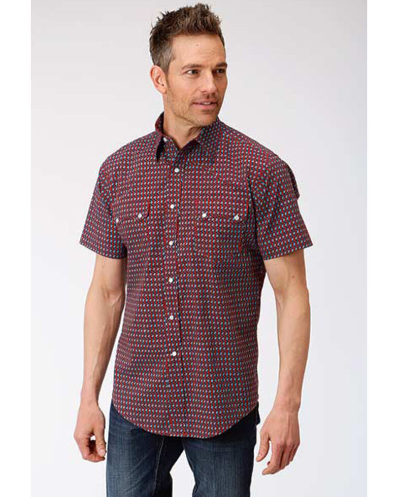 West Made Men's Octo Geo Print Short Sleeve Western Shirt , Red, hi-res