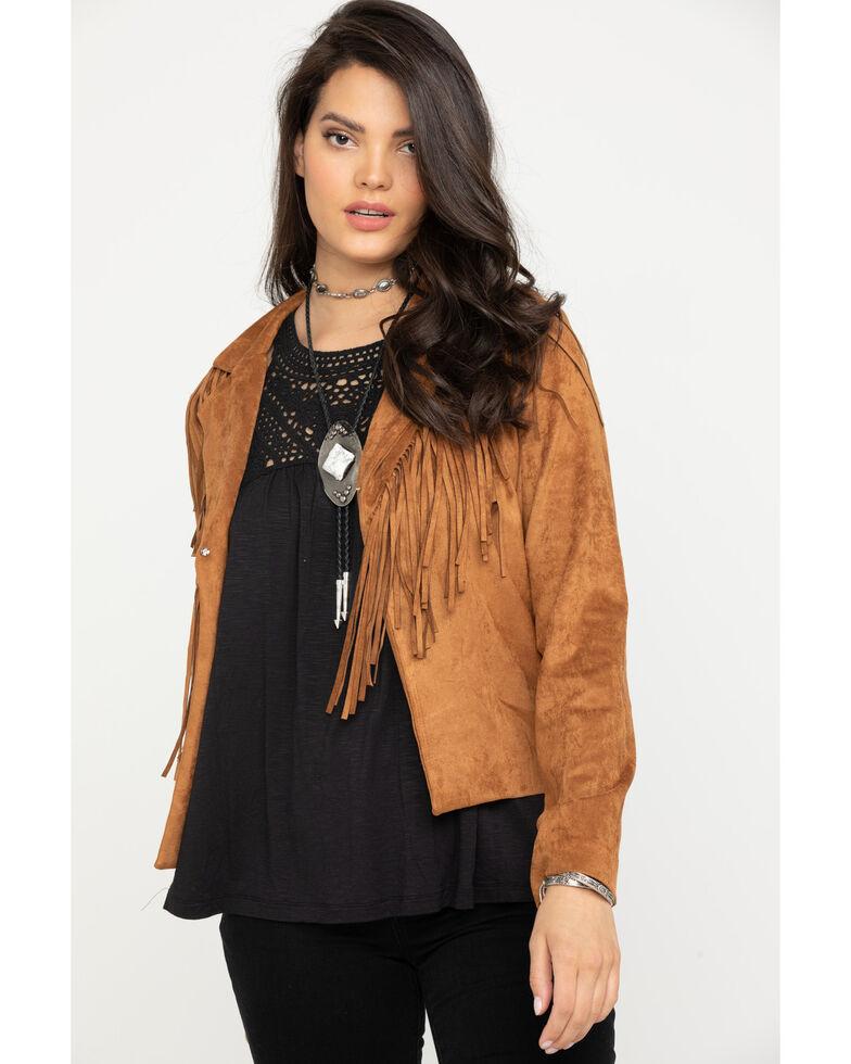 Wrangler Women's Camel Faux Suede Fringe Jacket , Camel, hi-res