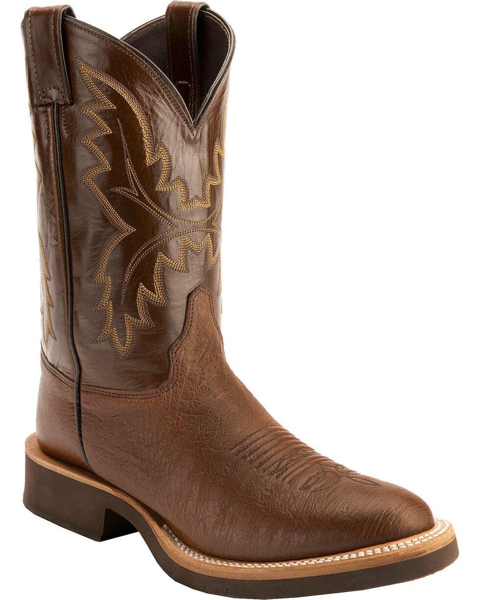 Justin Antique Brown Smooth Ostrich Tek Crepe Cowboy Boots - Round Toe, Antique Brown, hi-res