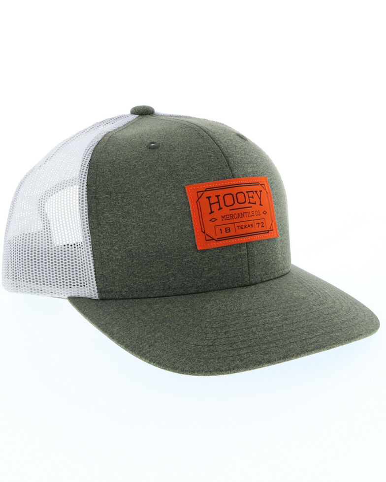 HOOey Men's Olive Doc Woven Square Patch Trucker Cap, Olive, hi-res