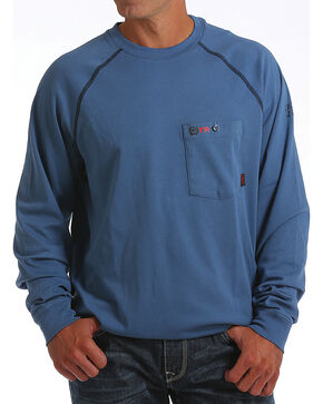 Cinch WRX Men's Blue Long Sleeve FR Raglan Shirt, Blue, hi-res